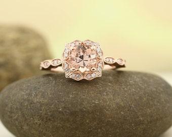 Natural Morganite Engagement Ring ,Diamond Wedding Ring, Vintage Floral style In 14k Rose Gold Gem1366