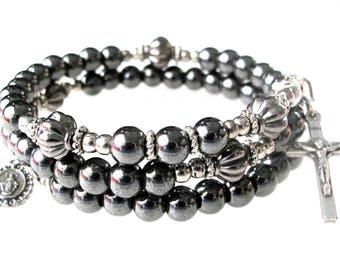 Men's Rosary Bracelet,Hematite Wrap Rosary Bracelet,Confirmation,Groom, Confirmation,Catholic Jewelry,Catholic Bracelet,Our Lady Beads,#185