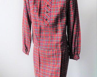 "Vintage Petite Junior 2 Pc Red Tartan Plaid Dress 34""-36"" bust"
