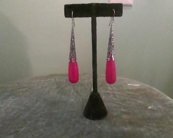 Vintage Art Deco Style Long Red Earrings Silver Red Dangle Drop Earrings