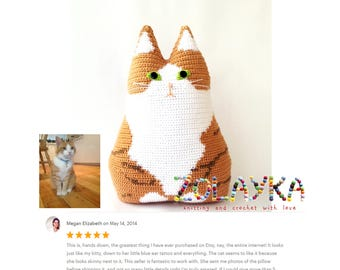 Crochet custom cat pillow portrait personalized cat gift memorial pet loss gift look a like personalized cat pillow new cat pet owner gift