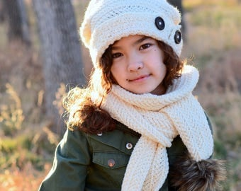 CROCHET PATTERN - Soft Side Slouchy & Scarf - crochet slouchy hat pattern + scarf pattern (Toddler Child Adult sizes) - Instant PDF Download