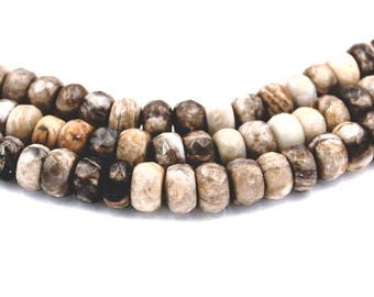 Silver Leaf Jasper Rondelle 8x5mm Faceted,Round Beads -14.25 inch strand