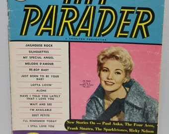 Set of 2 Vintage Music Magazines, 1958 Hit Parader and 1956 Song Hits