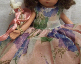 """Vintage Storybook Doll Nancy Ann Doll Seasons Series Bisque 5"""" Tall Jointed Arms Frozen Legs Floral Dress"""