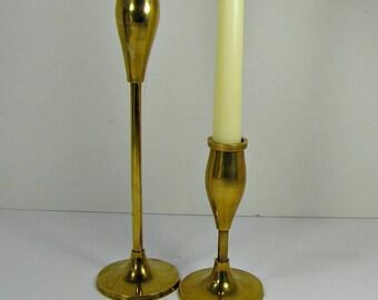 Vintage BRASS CANDLEHOLDER Set/2 Taper Candle Stick Holder Tarnished Patina
