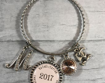 Valedictorian Gift. Gift for Graduation. Graduation Jewelry. Initial Bracelet. Gift for Graduate. Graduate Gift. Custom Design Jewelry. Grad