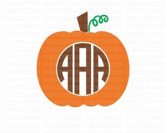 Pumpkin Monogram SVG, Pumpkin SVG, Cutting Files, SVG Files, Cut Files for Silhouette and Cricut