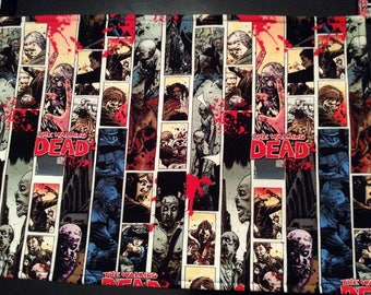 The Walking Dead Placemats Reversible Set of Four Rectangle Red Black Grey Blue Fabric  Zombies  Comic Book Strip Motif  WALKING DEAD logo