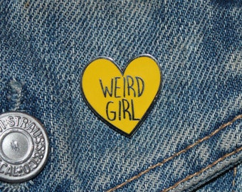 Weird Girl Enamel Pin Badge - Hard Enamel Nickel Free Metal Brooch - Yellow Heart Tumblr Anti- Loveheart Feminist Cute Girl Gang Riot Grrrl