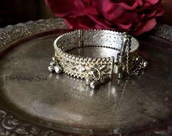 Vintage India Bell Bracelet, Bellydance Jewelry, Gypsy, Tribal, Bohemian, Hippie