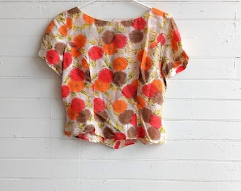 Vintage 1950s 50s silk floral blouse, colourful summer silk top, small