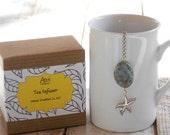 Tea Infuser,  Starfish, Dragon Jade, Lead Free Charm, Beachy, Coastal, Ocean, Gift Boxed, Safe Travel Charm, Beach Lover Gift, Nautical Gift