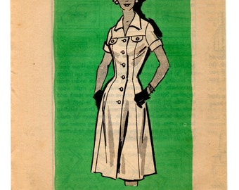 """1950's Mail Order One Piece Dress with Button Up Front Pattern - Bust 41"""" - UC/FF - No. 4716"""