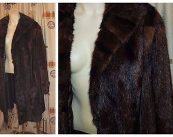 Vintage Fur Coat 1960s Mahogany Black Striped Fur Coat Large Collar German Boho Fur Coat Satin Lining Furrier Made L XL chest to 46 in