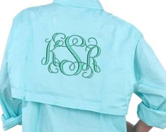 Monogram Fishing Shirts, Monogram Fishing Shirt, Personalized Cuffs, Monogram Beach Cover Up, Beach Fishing Shirt, Fishing Shirt Cover Up