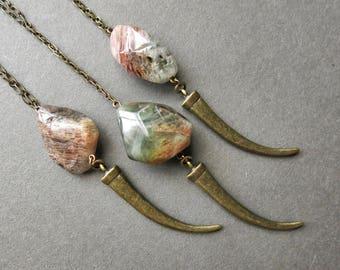 Talon Necklace - Garden Quartz Necklace - Long Quartz Necklace - Quartz Crystal Necklace - Amphibole Quartz Necklace- Phantom Quartz Pendant