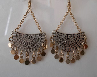 Silver Tone Crescent Earrings on a Gold Tone Chain and with Gold Tone Dangles