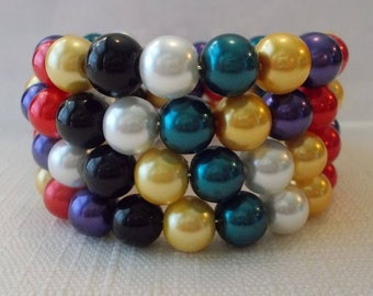 4 Row Memory Wire Cuff Bracelet with Multi Color Sea Shell Pearls