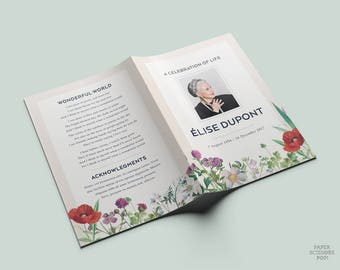 Funeral Program, Floral Funeral Program, Personalized Botanical Memorial Order of Service, Memorial Program, Botanical Funeral Service Card