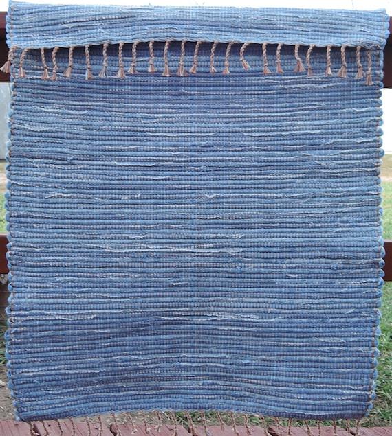 Rag Rug Large: Hand Woven Rag Rug Large Denim Runner 28 X 84