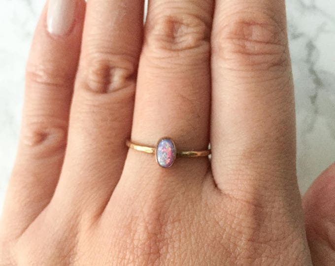 Dainty Oval Purple Opal Gold Filled Ring