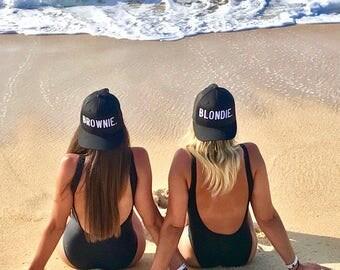 Blondie and Brownie Trucker Snapback Black Best Friends Snapback Mesh Back Hat Blonde Brunette