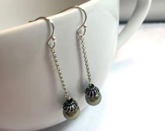 Green Swarovski Pearl Sterling Silver Dangle Earrings