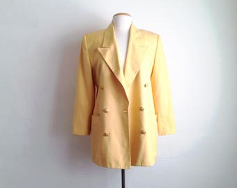 linen jacket womens 90s blazer vintage yellow double breasted blazer long 90s clothes 1990s gold button