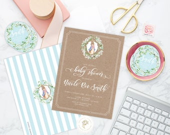 Bunny invitations - rabbit invitation - baby shower invitation - Peter Rabbit invitation - kraft invitation - freshmint paperie