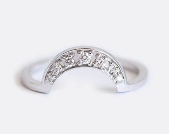 Crescent Ring, Moon Ring, Moon diamond Ring, Moon Wedding Ring, Diamond Crown Ring, Diamond Band, Diamond Ring, Matching Band