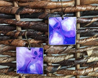 Blue Sky Hand Painted Metal Earrings