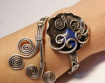Lapis Lazuli Jewelry, Lapis Lazuli Bracelet, Lapis Lazuli Cuff Bracelet, Gemstone Bracelet, Lazuli Bracelet, Wire Wrapped Jewelry Handmade