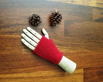 Red mittens - womens gloves - fingerless gloves - womens mittens - handmade - wool mitts - red gloves - gift for her - hand warmers