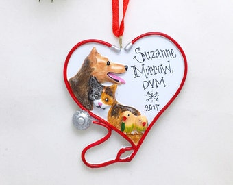 Veterinarian Ornament - Personalized Christmas Ornament - Vet Heart Ornament - Animal Lover Ornament - Custom Name or Message