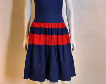 1950's vintage cotton day dress - nautical but nice