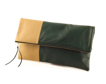 Handmade Leather Fold Over Clutch, Upcycled Leather Zipper Clutch, Gift for Her, Foldover Casual Clutch, Color Block Clutch, Green and Tan