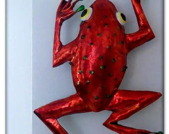 Red Coffee Tin Frog  Climbing. Made from a coffee tin.