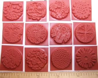 "12 Inchies Round Unmounted 1"" Texture Rubber Stamps for Polymer, PMC, Paper, Clay Stamping"