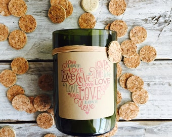 Love heart..Candles made out of recycled wine bottles