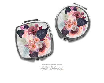 Fall Floral Compact Mirror Purse Mirror Personalized Mirror Travel Mirror Custom Gift Purse Mirror Bridesmaid Gift Makeup Mirror 8.