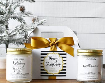 Candle and Sugar Scrub Gift Set - Boxed with Sparkle Merry Christmas Label - Gift for her | Gift for Mom | Holiday gift | Personalized Gift