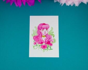 Flower Girl - Watercolour Art Print - Illustration - Limited Edition Gold Print