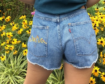 90's Jersey Flames High Waisted Levis Shorts