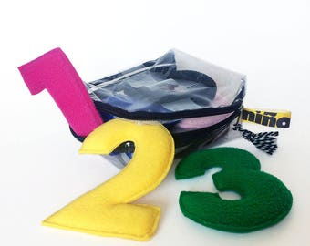 123   Bag with 10 plush numbers