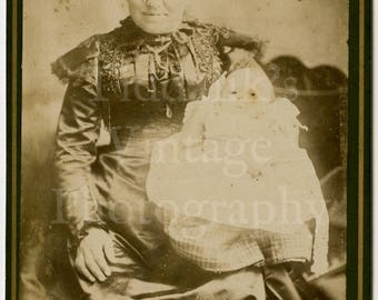 Cabinet Card Photo Victorian Old Woman & Baby on Lap - Avery of London - Antique Photograph