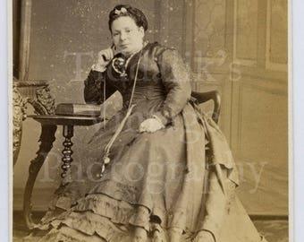 CDV Carte de Visite Photo Victorian Seated Old Woman, Hoop Dress Portrait - Mr. H Goodman of Margate England - Antique Photograph
