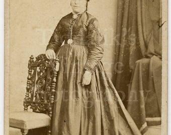 CDV Photo Victorian Standing Woman Dark Dress Portrait by A L Henderson of London England - Carte de Visite Antique Photograph