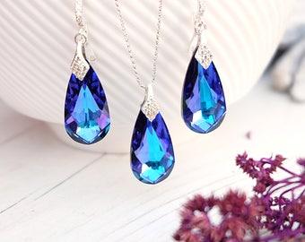 Purple blue Swarovski teardrop crystal earrings necklace set Sterling Silver bridal jewellery Heliotrope wedding bridesmaids earrings 2