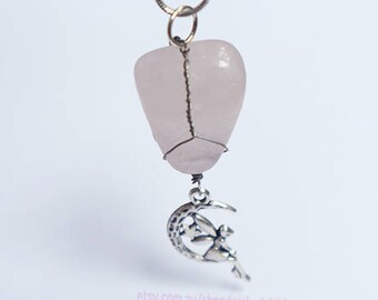 Rose Quartz Silver Wire Wrapped Crystal Necklace Pendant with Moon Fairy